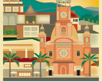 Puerto Vallarta Print, Puerto Vallarta Wall Art, Puerto Vallarta Skyline Art, Puerto Vallarta Travel Gift, Mexico Print- style E8-O-PUERTO-V