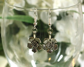 Silver Flower Charm Earrings - Womens Fashion Accessories