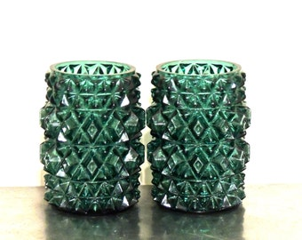 vintage aqua faceted vases - 1950s-60s mid century heavy glass light covers