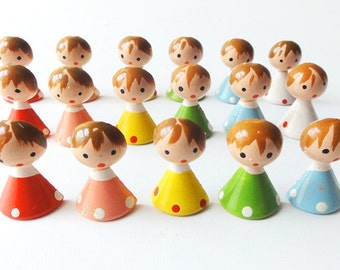 Vintage Wooden Girl Figures Set Hand Painted Italy Sevi Cake Decorations