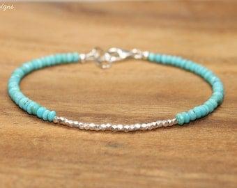 Sleeping Beauty Turquoise Bracelet, Hill Tribe Silver Beads, Sleeping Beauty Turquoise Jewelry, December Birthstone
