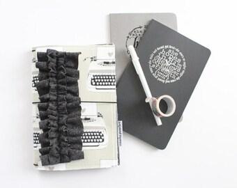 black & white typewriter love  -- fauxdori traveler's notebook