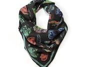 Crystals & Gems Silk Scarf / Minerals Printed Ascot neckerchief Bandana / Vintage Geo Illustration / Sqaure 26x26 100% silk  /A3303