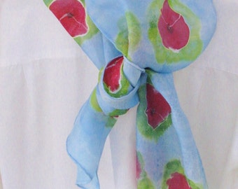 Hand painted silk scarf red poppies soft blue green 8x 54 long Canada made design