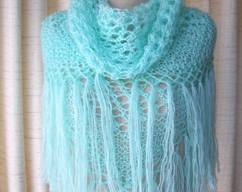 Hand Knit Mohair Shawl Scarf in Aquamarine / Lovely Mohair / Ready to Ship Gift / Bridal Shawl/ See Breeze
