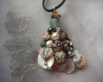 silver moon - a mixed media boho gypsy pendant