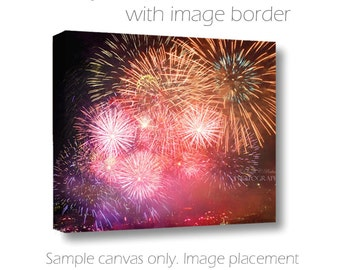 Fireworks on Canvas-Firework Photography-30x40-Dramatic Wall Art-Night Sky Image-Fine Art Canvas Art-Bright Wall Art-Firework Display Photo