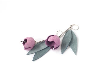Leather earrings with Pink rose flowers and grey green leaves. Leather floral jewelry