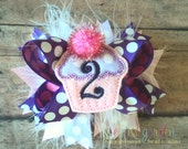First Birthday Cupcake Monogrammed Initial Petite Sized Boutique Style Hair Bow Pink Purple Lavender White Marabou