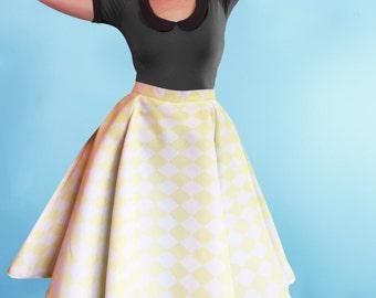 Lemon Yellow Harley Quinn Flared Rockabilly Skirt