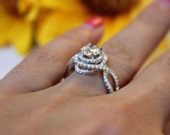 Forever Brilliant Moissanite Engagement Ring , White gold diamond swirl design, floral bouquet halo, Moissanite ring,