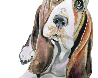 Print of a Basset Hound. Print from watercolor painting