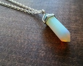 Opalite Point Necklace, Double Point Pendant in Silver Finish