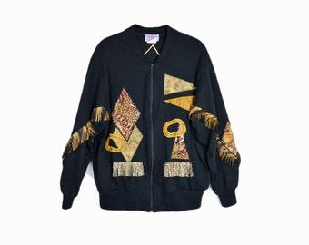 february sweater sale!! Vintage 80s Fringed Leopard Print Sweatshirt Jacket / Animal Print Sweater - women's large
