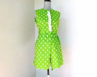 vintage 1960s, 1970's romper | green and white polka dots | womens size m