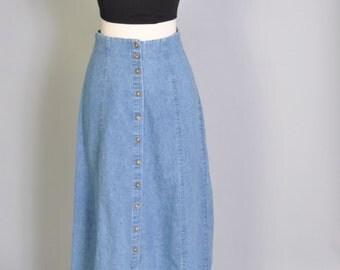 Vintage Denim Skirt 80s High Waist Button Up Denim Maxi Skirt Medium Wash Dungaree Cotton Skirt S