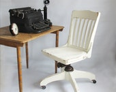 Shabby White Solid Oak Office Chair