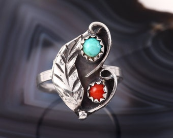 STERLING TURQUOISE RING 925 Estate Jewelry Sterling Silver Native American Leaf Ring Coral Genuine Gemstone Size 5