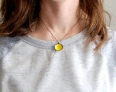 Bright Yellow Sun Domed Circle Enamel Pendant Necklace