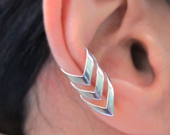Triple chevron arrow ear cuff Sterling Silver earrings Arrow jewelry Chevron earrings Sterling silver ear cuff clip for men & women C-197