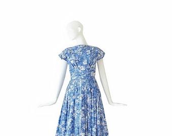 1950s Dress • 50s Blue Floral Dress • S / M Small Medium
