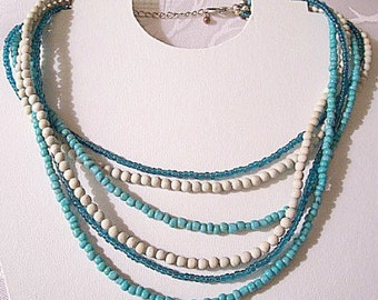 Blue Green Grey Necklace Choker Silver Tone Vintage Six Strand Lucite Seed Bead Bib Size Adjustable Link Chain Lobster Claw