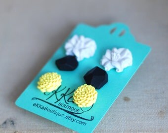 Flower studs, Diamond shape studs, Geometric studs and flower post earrings set of three - white lily, black, yellow