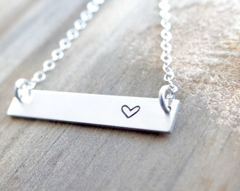 Heart Sterling Silver Bar Necklace. Hand Stamped Jewelry.  Minimalist, Engraved Necklace.  Simple Layering Bar Necklace, with Heart.
