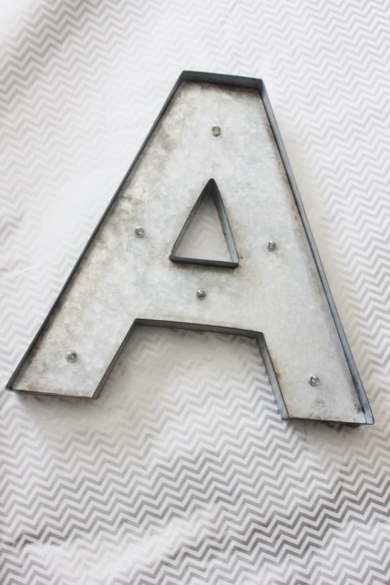 Large metal marquee letter distressed zinc silver custom for Giant galvanized letters