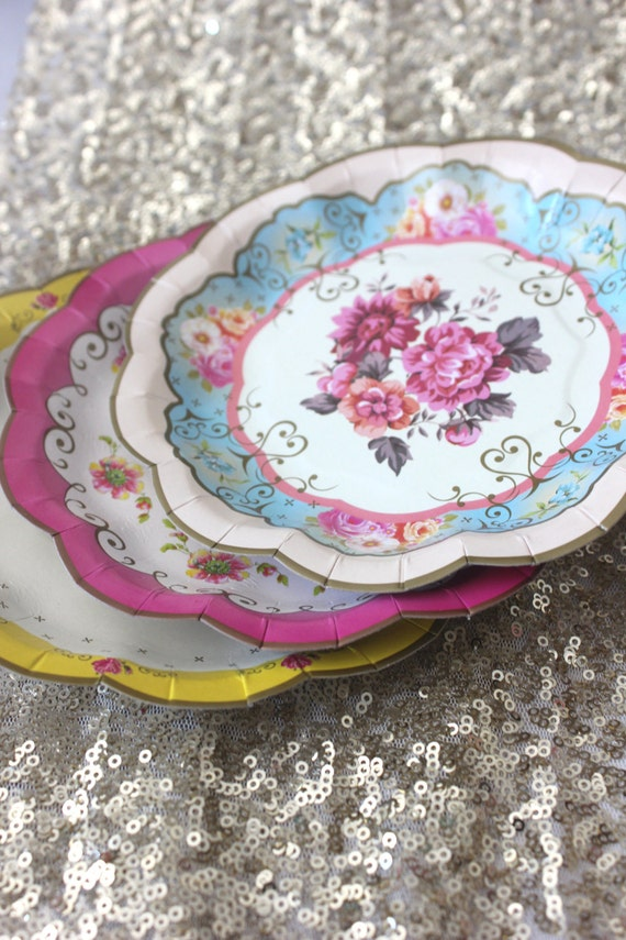 Sale 12 FLORAL TEA PARTY Mini Paper Plates Parisian Vintage Style Shabby Chic Garden Tea Time Mint Green Pink Yellow Blue Rose French Paris : pink and blue paper plates - pezcame.com