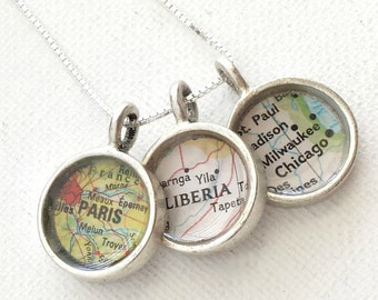 Map Charm Necklace Pick Three 3 Locations