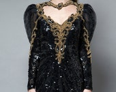 SALE -- trophy dress gown sequins black gold heart open back vintage 80s performance intricate S