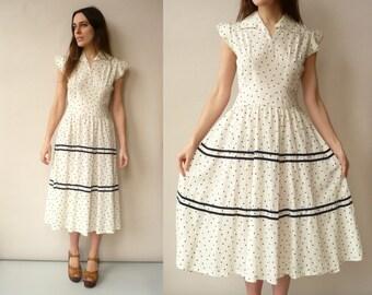 1950's Vintage Ivory & Navy Polka Dot Rockabilly Prom Dress Size XS