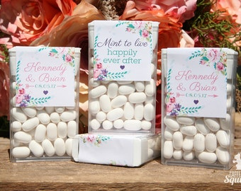 Mint To Live Happily Ever After - Tic Tac Labels, Perfect for Bridal Showers, Wedding, Flowers, Roses, Mints, Fresh, Favor, Pink, Aqua
