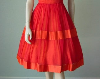 1960s Brightly Colored Chiffon Dressy Dress with Drape and Full Skirt // Summer Red and Orange // Small