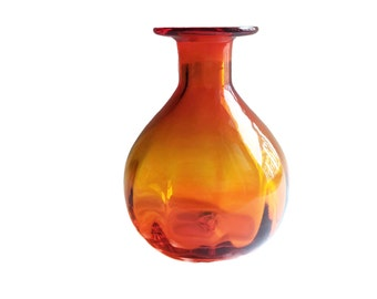 Vintage Blown Glass Vase Amberina Orange Glass Vase Optic Glass Mid Century Decor