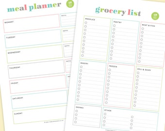 Meal Planner U0026 Grocery List Printable, Meal Plan Printable, Shopping List  Printable, Grocery  Grocery List Organizer Template