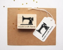 Vintage Sewing Machine Rubber Stamp, Made with Love, for stamping hand-sewn gifts