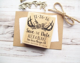 Save the Date Antlers Stamp with Flowers - Rustic Deer Woodland Floral Bouquet Wreath - Custom Rubber Stamp