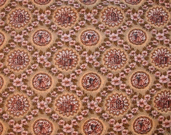 Toile Fabric Brown Tan Pink Flowers with Medallion Country Manor, Castle, Peasants, Decorator Fabric