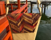Rebecca 1604E  Upholstery Fabric Up Cycled Purse in Golden Tan.
