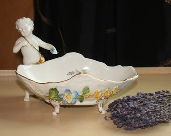 Antique Dresden Saxony Germany Hand-painted Floral Putto Cherub Porcelain Candy Dish