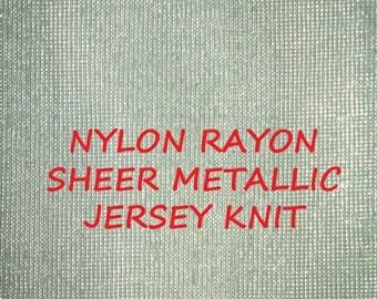 1-1/2 YARDS, Jersey Knit, Silver Sparkle, Sheer Fashion or Craft Fabric, Light Gray, Lightweight Nylon Rayon, B35