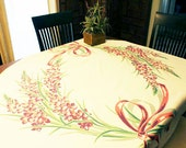 "Vintage Table Cloth with Spray of Pink Purple and Gray flowers tied in a bow, 48"" x 52""  F"