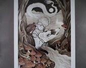 Tundra Seeker Mushrooms River Moon Crystal Fantasy Surreal Animal Illustration Loose Art Print
