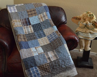 Quilt  Blues Grays Browns UpCycle RePurpose ReUse Men's Plaid Dress Shirt Quilt TWIN Made to Order