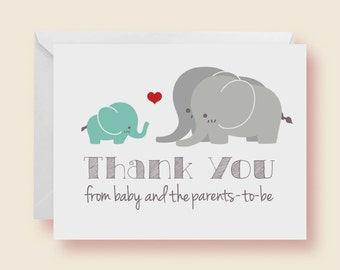 Set of 10 - Gender Neutral Elephant Baby Shower Thank-You Cards