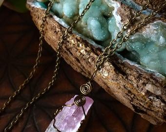 Rare Bi-Colored Kunzite- Heart Chakra- Necklace
