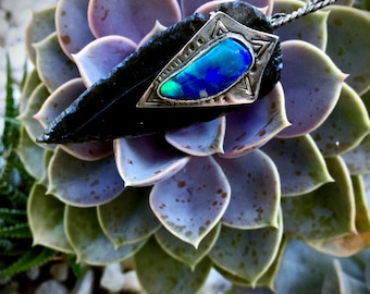 Spirit Warrior- Welo Opal and Obsidian Arrowhead Necklace