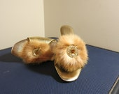 Boudoir Slippers slide mules with real fur GOLD LAME pinup 1960s 7
